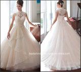Vestido de casamento nupcial Wd1535 da Elevado-Garganta de Tulle do vestido de casamento do espartilho do laço