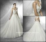 Vestido de casamento nupcial W176287 de Tulle do laço dos vestidos de esfera do corpete completo