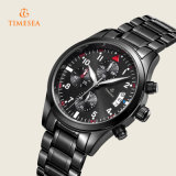 Montre noire en cuir de luxe 72230 de chronographe de mode de montres analogiques de quartz de Mens