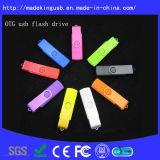 Mecanismo impulsor plástico del flash del USB del regalo OTG de la promoción del eslabón giratorio caliente de la venta