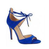 Veloursleder-Schuhe mit Plattform u. reizvollem Form-hohem Absatz
