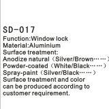 キーのハードウェアのアクセサリ(SD-017)が付いているアルミニウムドアかウィンドウ・ハンドルまたはロック