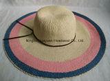 Sombrero de paja hecho a mano del borde de la playa del estilo de la venda de cuero grande de Floopy