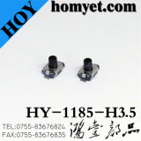 Interruptor do tacto com 4*3*2.5mm 2 tipo tecla do Pin SMD do preto redonda (HY-1185)