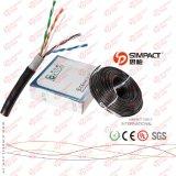 Cable de LAN al aire libre doble de la chaqueta PVC+PE UTP Cat5e