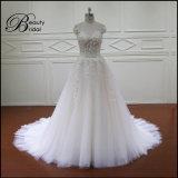 Intelligentes weißes Tulle 3D blüht Hochzeits-Kleid
