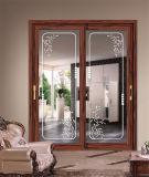Деревянная раздвижная дверь варианта цвета отделки зерна алюминиевая