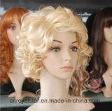 カールの毛のマリリンヨーロッパおよびアメリカの短いブロンドのモンローのかつら