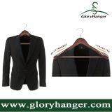 余分に広く木のスーツのハンガー-ビロード棒が付いている贅沢な木製のスーツのハンガー