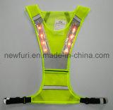Maglia riflettente di sicurezza di alta visibilità di colore giallo LED di sport En471