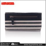 海軍縞のキャンバスPUの女性の財布