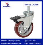 Stud Polyurethane Wheel Double Bearing를 가진 회전대 Caster