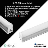 Warrenty 3 년 90cm 12W Aluminium T5 LED Tube Light AC85-265V