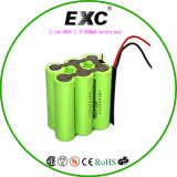 Li-Ion 18650 11.1V 2600mAh Battery Pack Ausn. 9.6V 1100mAh
