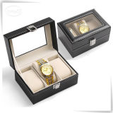 Senhoras luxuosas Handmade de couro do plutônio as únicas gravaram caixas de relógio