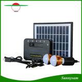 Mini sistema de energia solar com o jogo Home solar do projector do diodo emissor de luz com o painel solar destacado com porta do USB para a carga móvel