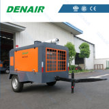 De industriële Diesel Gedreven Beweegbare die Compressor van de Lucht voor de Boor van de Rots wordt gebruikt