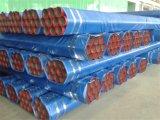 Le rouge a peint les pipes en acier soudées avec a cannelé chaque extrémité pour la lutte contre l'incendie