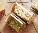 Conjunto de frasco de armazenamento de alimentos de vidro borosilicato 3PC com tampa de bambu