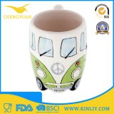 Tazza di caffè di ceramica divertente calda di vendita 3D con il disegno BRITANNICO del bus