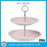 Placa dividida postre sano personalizada blanca de la cena de la porcelana decorativa de cerámica