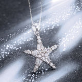 Argento sterlina di modo delle donne che desidera la collana del pendente della stella
