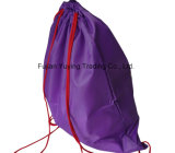 trouxa de nylon do saco de Drawstring do poliéster 210d roxo