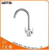 Двойной кран воды раковины крана кухни шарнирного соединения ручки (WT1002BN-KF)