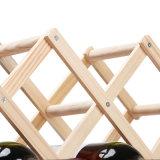 Crémaillère en bois de vin de Fodable de bon marché 3 bouteilles pour le supermarché de cave d'établissement vinicole