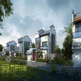 川の外部3Dレンダリングの側の中国様式の別荘領域
