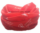 Bandeau sans joint magique de couleur chamois multifonctionnel rouge estampé par logo fait sur commande de produit d'OEM