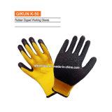 Связанные K-46 перчатки латекса Crinkle хлопка работая