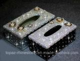 De met de hand gemaakte Doos van het Weefsel van het Geval van de Servetten van de Houder van de Keukenrol van de Diamant van het Bergkristal van het Kristal (tb-008)
