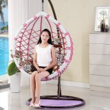 Pátio Rattan Egg Shaped Swing Chair Wicker Suspensão Single Seat Swing (D017)