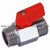 Pulido de latón chapado macho Mini válvula de bola (AV1054)