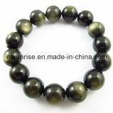 Bracelet en perles de pierres précieuses en or noir