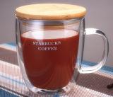 350mlマグのコーヒー・マグのコーヒーカップの倍の壁のガラスミルクのコップ