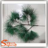 Folhas de pinho artificiais por atacado para decoração paisagista