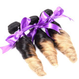 8A Ombreのペルーのばねのカールのバージンの毛3の調子の毛3PCS Ombreのペルーの螺線形のカールの織り方の人間の毛髪のOmbreの毛の拡張