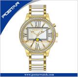 Relojes de señoras del diamante de la fase de la Luna Nueva con la venda de acero inoxidable