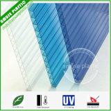 Лист Policarbonato померанцовой двойной стены кристаллический полый с UV