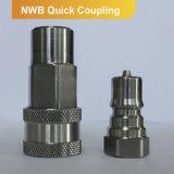 Série rápida hidráulica de Nwb da peça do acoplador Male+Female da válvula de rosca de torno do acoplamento do ISO 7241b (aço inoxidável)