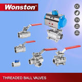 Vávula de bola de las maneras CF8 tres con el postizo de montaje ISO5211 Pn64