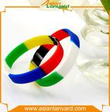 Braccialetto speciale del silicone di Mescolare-Colore di disegno del cliente