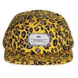 Sombrero tejido de encargo del casquillo del Snapback del panel de la impresión 5 del leopardo de la escritura de la etiqueta