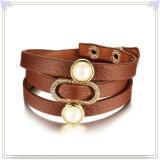 De Juwelen van de Armband van de Armband van het Leer van de Juwelen van het roestvrij staal (LB512)