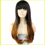Blonde Wavy Synthetic Hair der Form-Dame Perücken