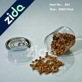 tarros plásticos herméticos del caramelo del animal doméstico 170ml del tapón de tuerca plástico claro plástico del tarro