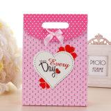 Мешок упаковки ювелирных изделий бумажной несущей искусствоа руки подарка покупкы бумаги печати Brown Kraft выдвиженческий Coated косметический с веревочкой хлопка Nylon (E037)
