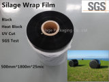 película preta do envoltório da ensilagem de 750mm*1500m